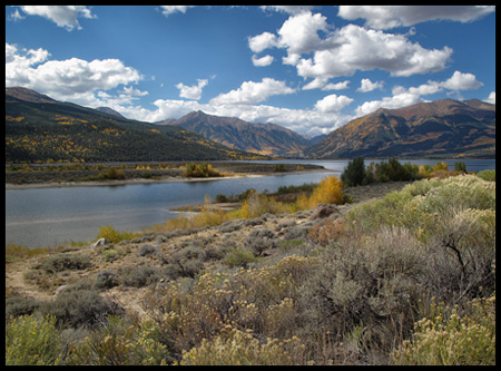 Twin Lakes are two natural mountain lakes at the foot of Colorado's highest Fourteener Mt. Elbert