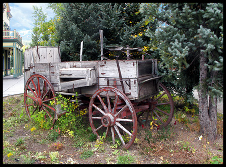 This old wagon along the main street seems perfect in this western town