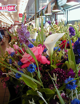 Flower booth at Pike Place Market