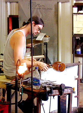 We truly enjoyed observing the glass blowing process at Wimberly Glass Works -- click to view picture large